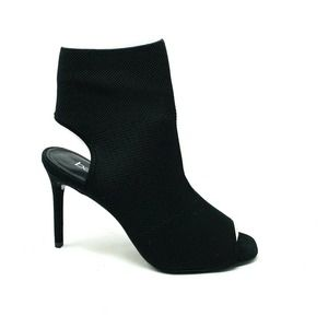 Bar III Fabric Open Toe Ankle Boots Black 6M